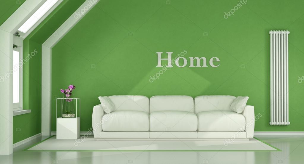 Woonkamer Op Zolder : Groene woonkamer op zolder u stockfoto archideaphoto