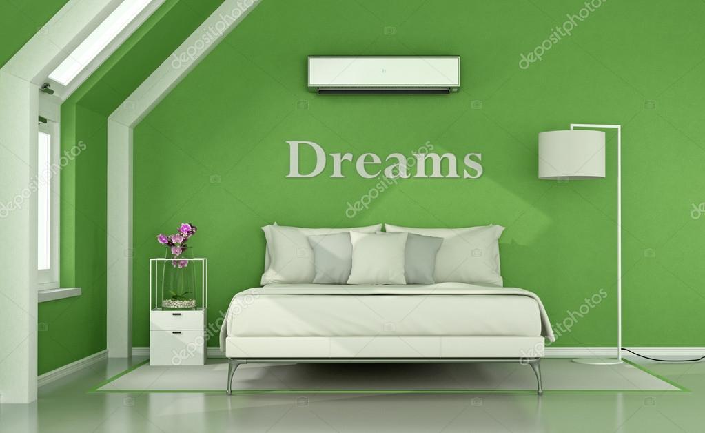 Groene slaapkamer op zolder — Stockfoto © archideaphoto #127166500