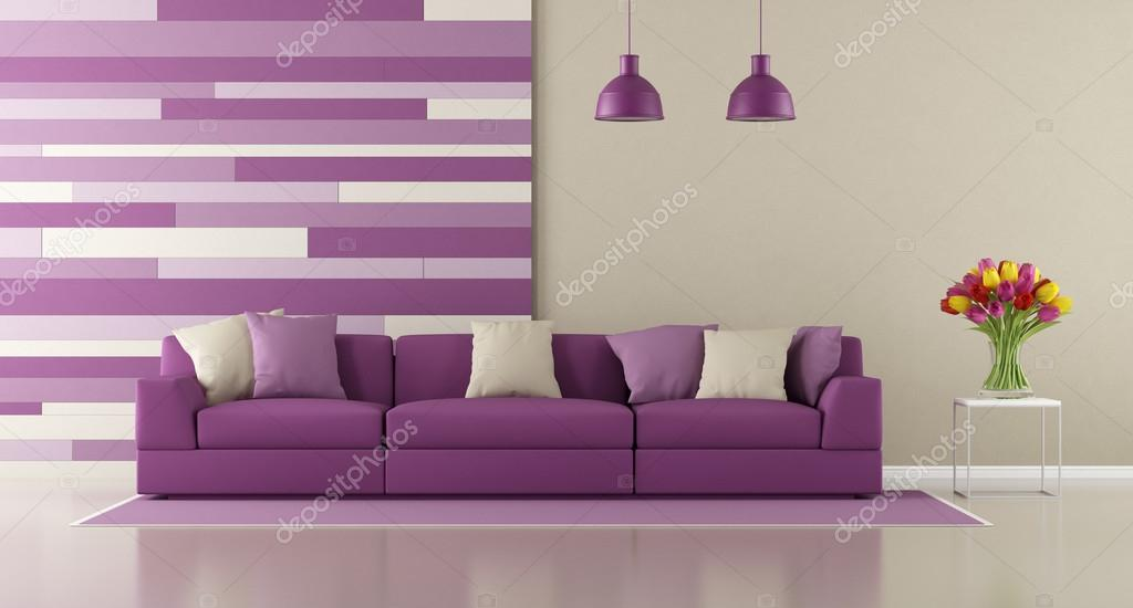 Paarse Decoratie Woonkamer : Hedendaagse paarse woonkamer u stockfoto archideaphoto
