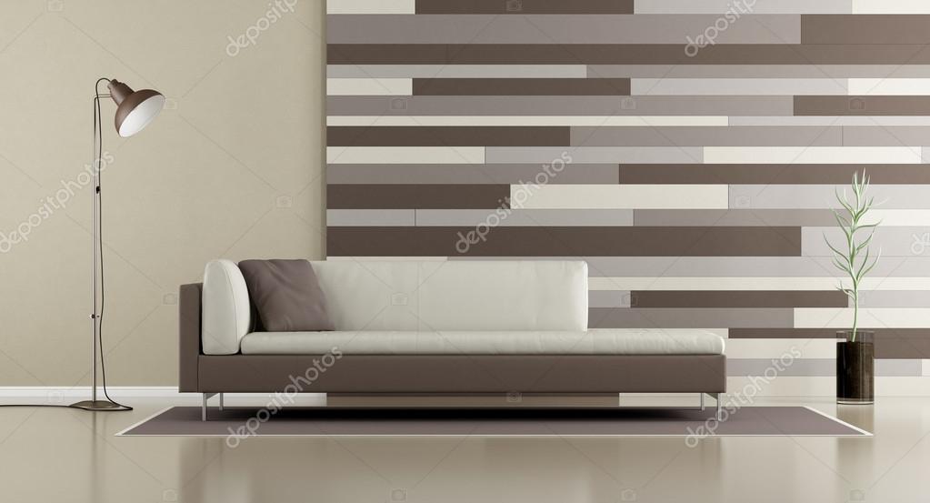 Eigentijdse lounge met sofa en decoratieve paneel u2014 stockfoto