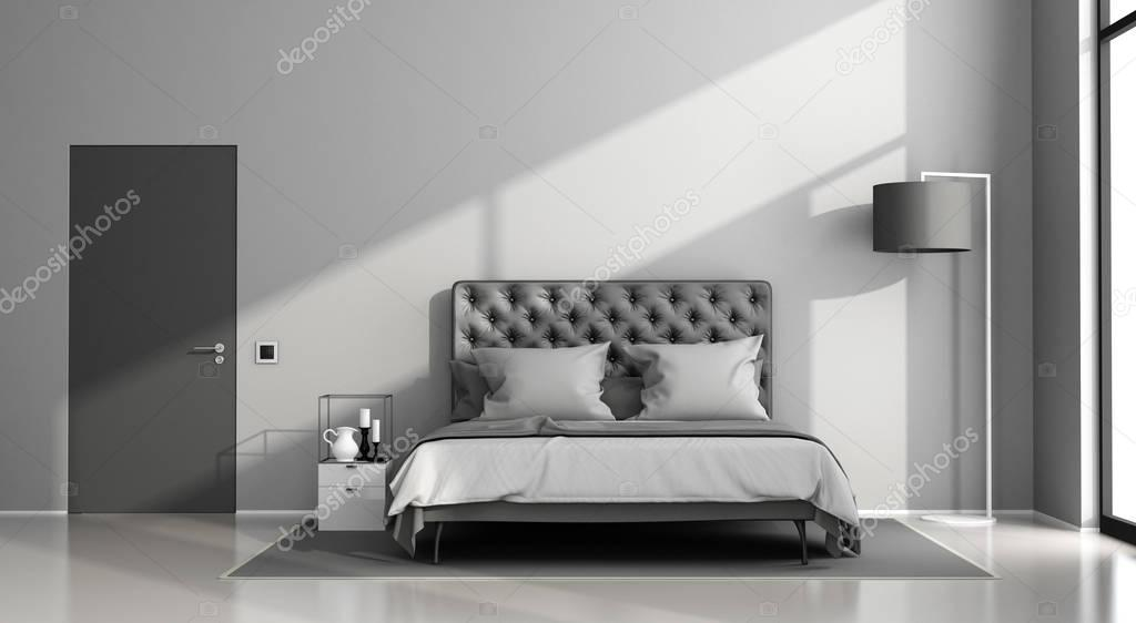 Sypialnia Czarno Szary Zdjęcie Stockowe Archideaphoto