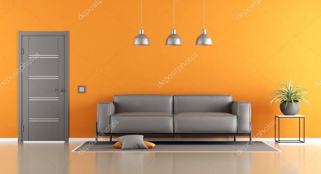 Grau und orange Wohnzimmer — Stockfoto © archideaphoto #129116862