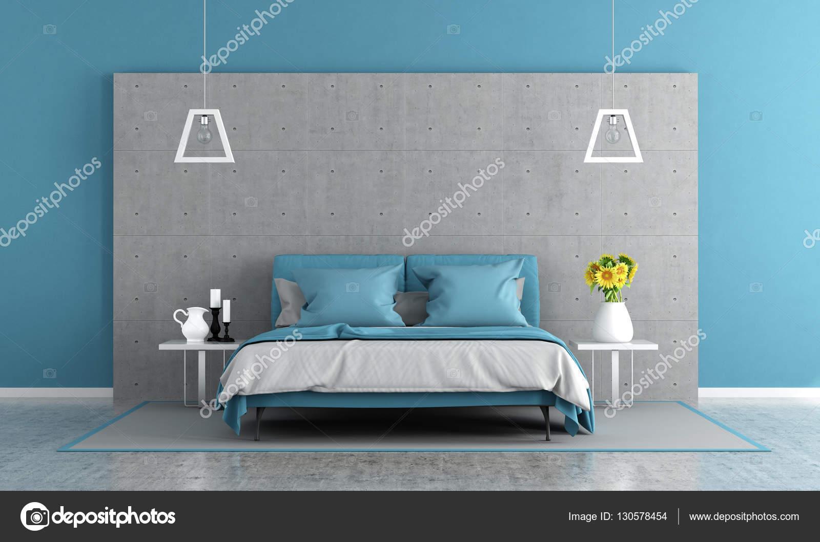 Blauw en grijs hoofdslaapkamer — Stockfoto © archideaphoto #130578454
