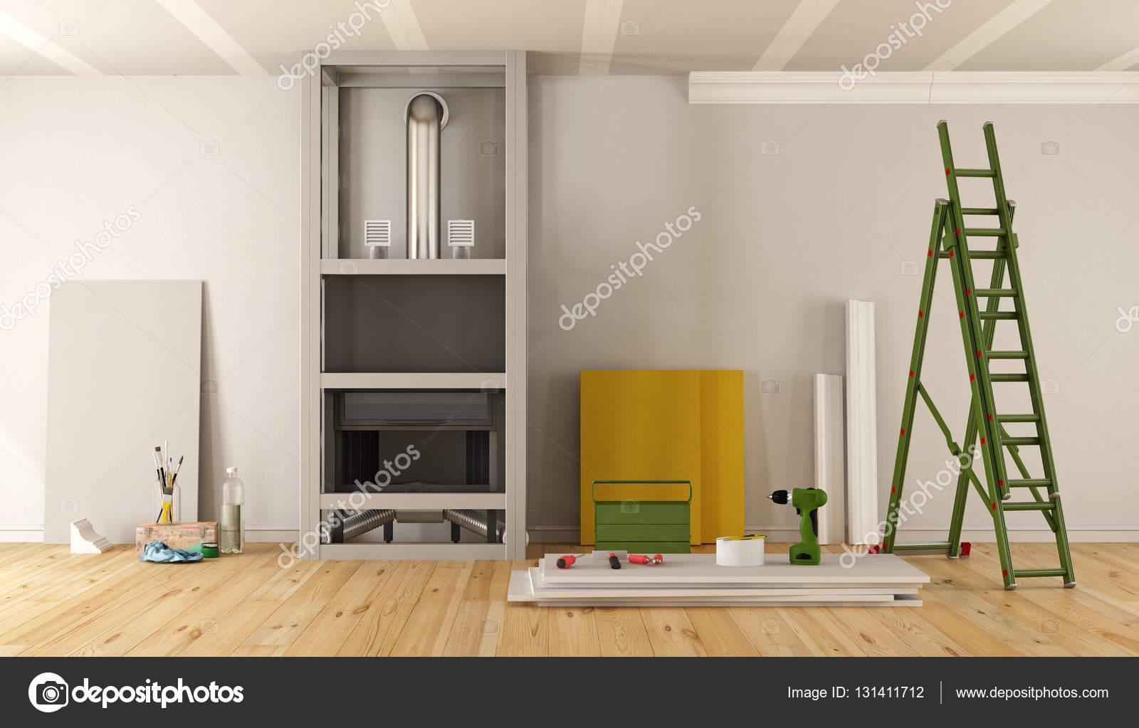 Open Haard Renoveren : Home renovatie met open haard u stockfoto archideaphoto