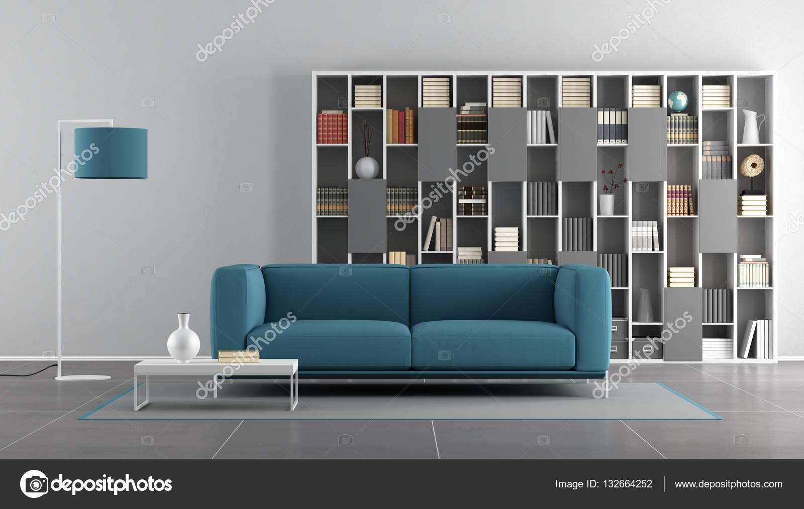 Moderne woonkamer blauw en grijs — Stockfoto © archideaphoto #132664252