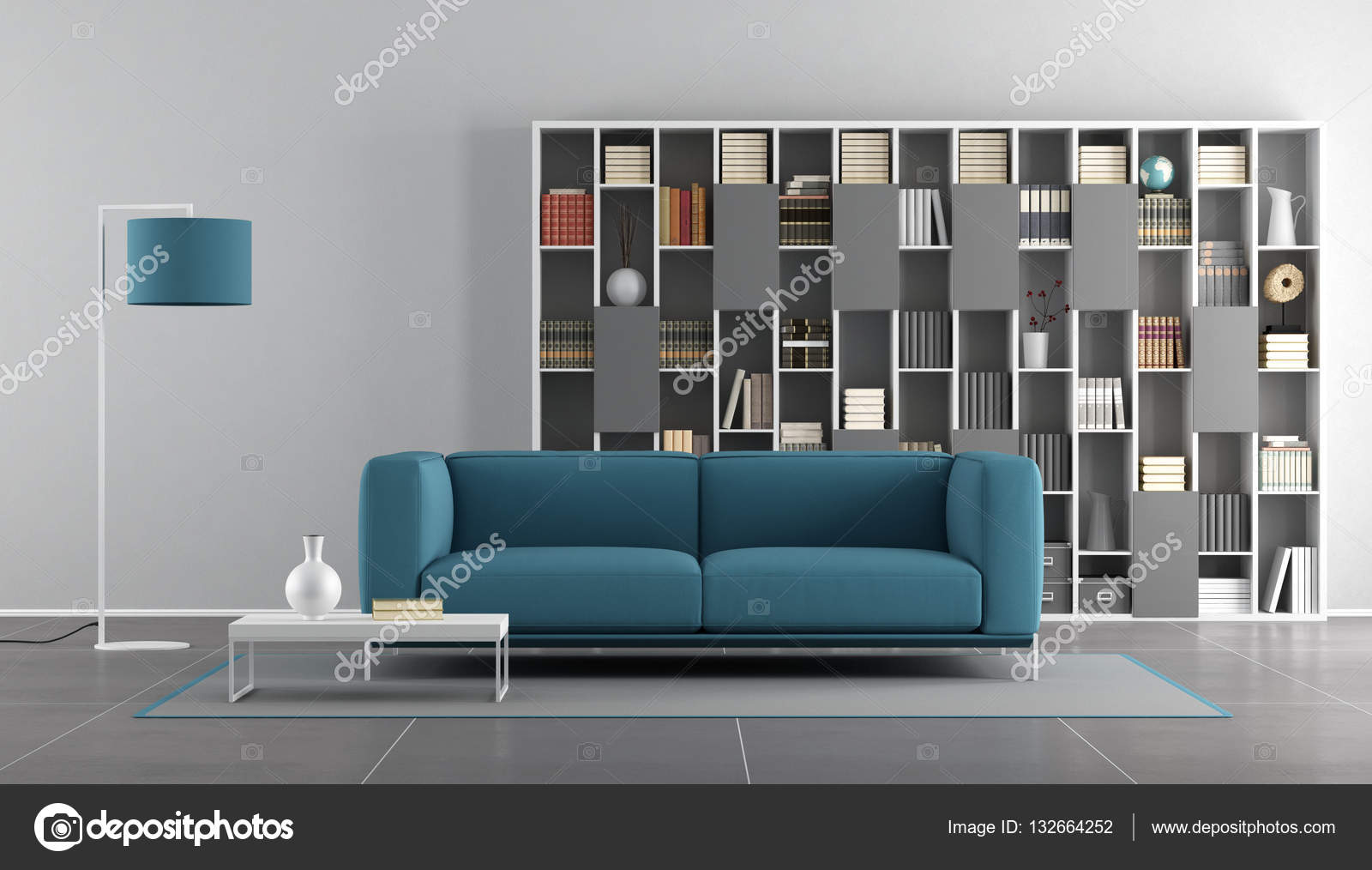 Blauw woonkamer muurverf interiorhalloween