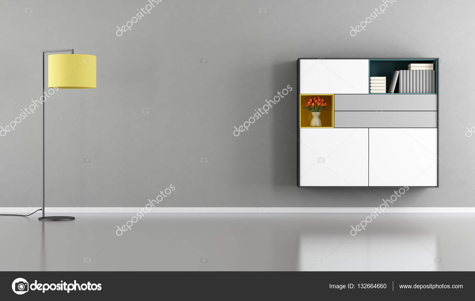 Credenza Moderna Gialla : Moderno soggiorno con madia sulla parete u2014 foto stock