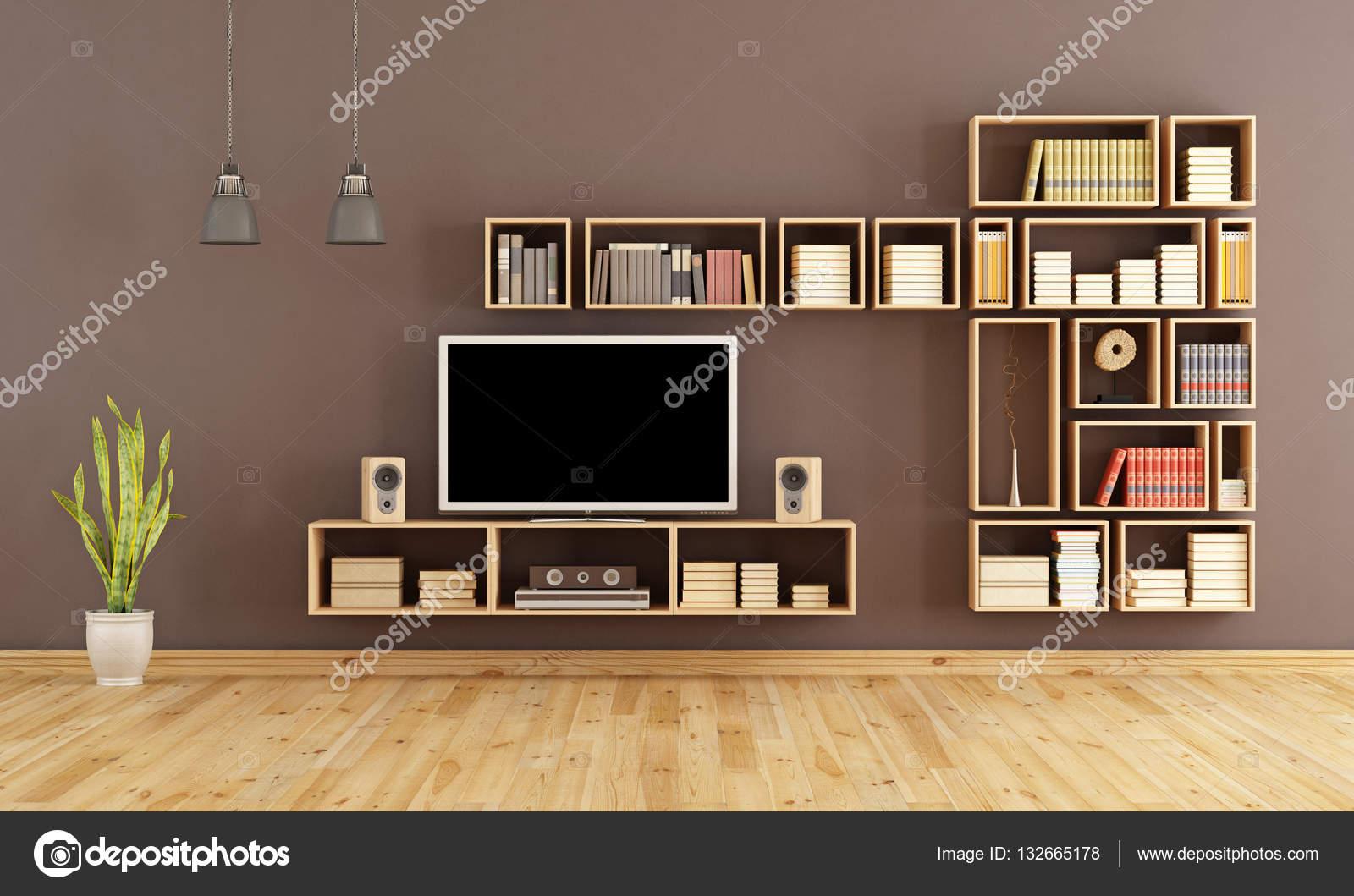 Marrom Sala De Estar Com Tv Stock Photo Archideaphoto 132665178 -> Estantes Para Sala De Tv Lcd