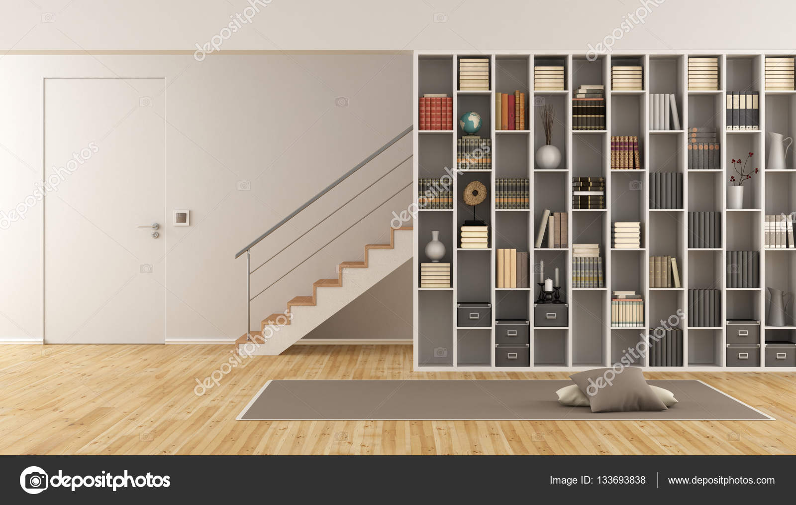 Soggiorno con libreria e scala — Foto Stock © archideaphoto #133693838