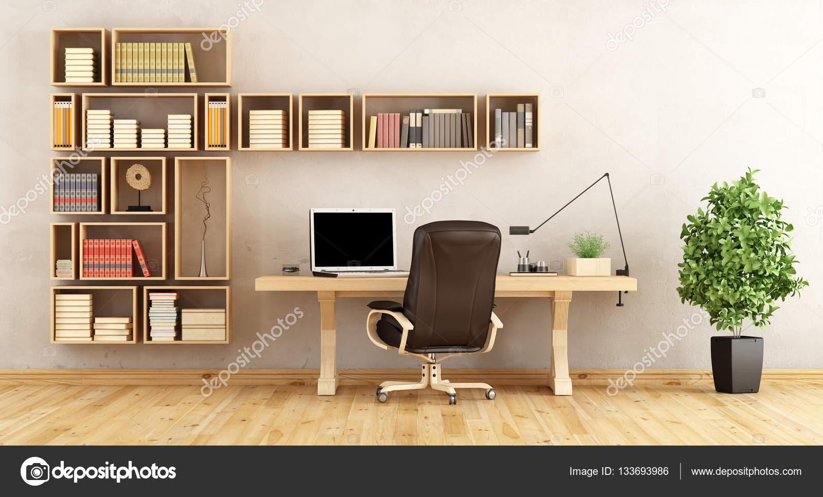 Bureau à la maison avec des meubles en bois u photographie