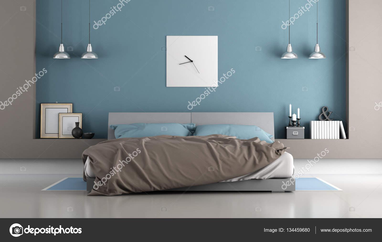 Chambre à coucher moderne bleu et marron — Photo #134459680