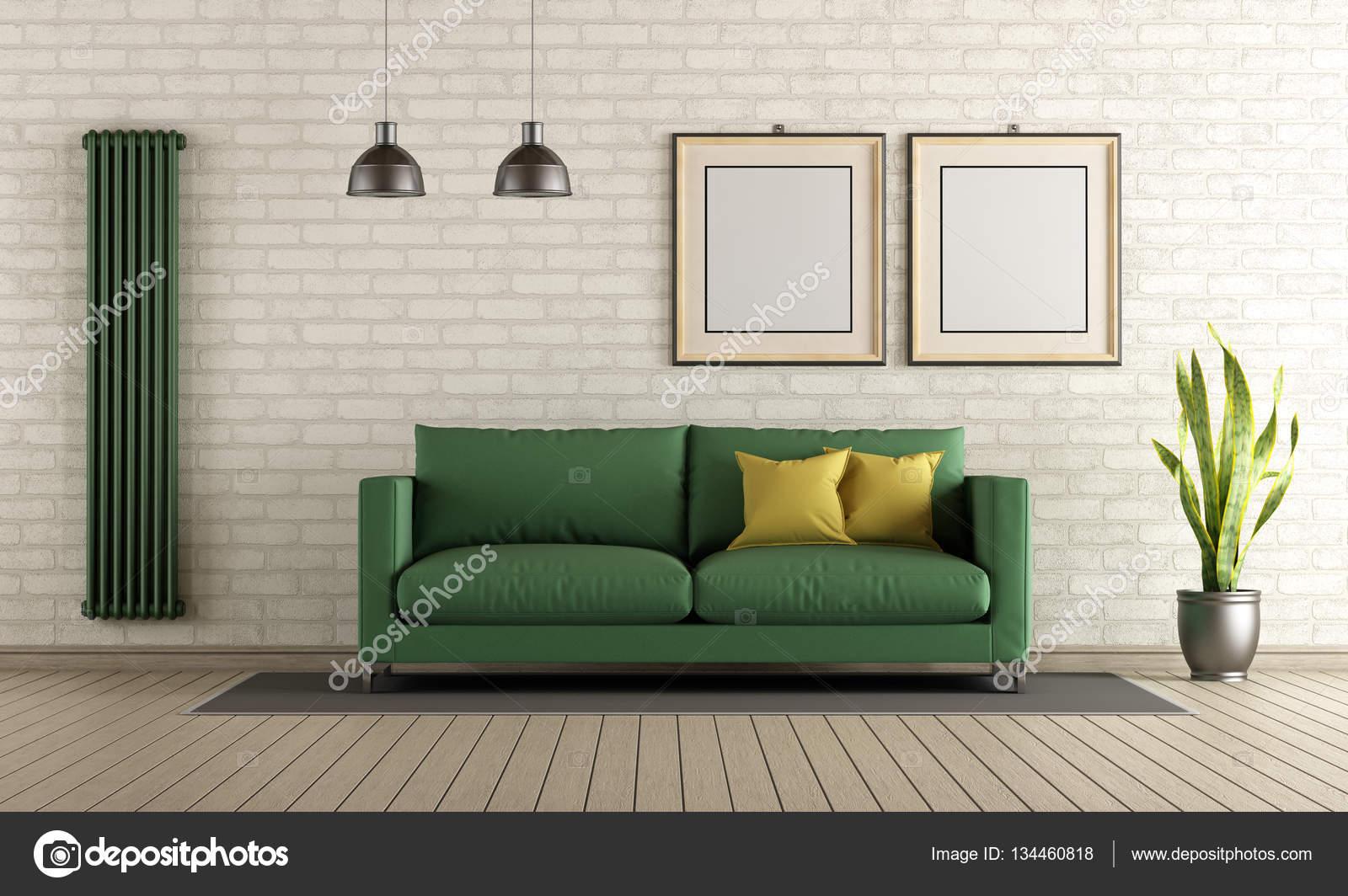 Salotto Moderno Verde : Soggiorno moderno con divano verde u foto stock archideaphoto