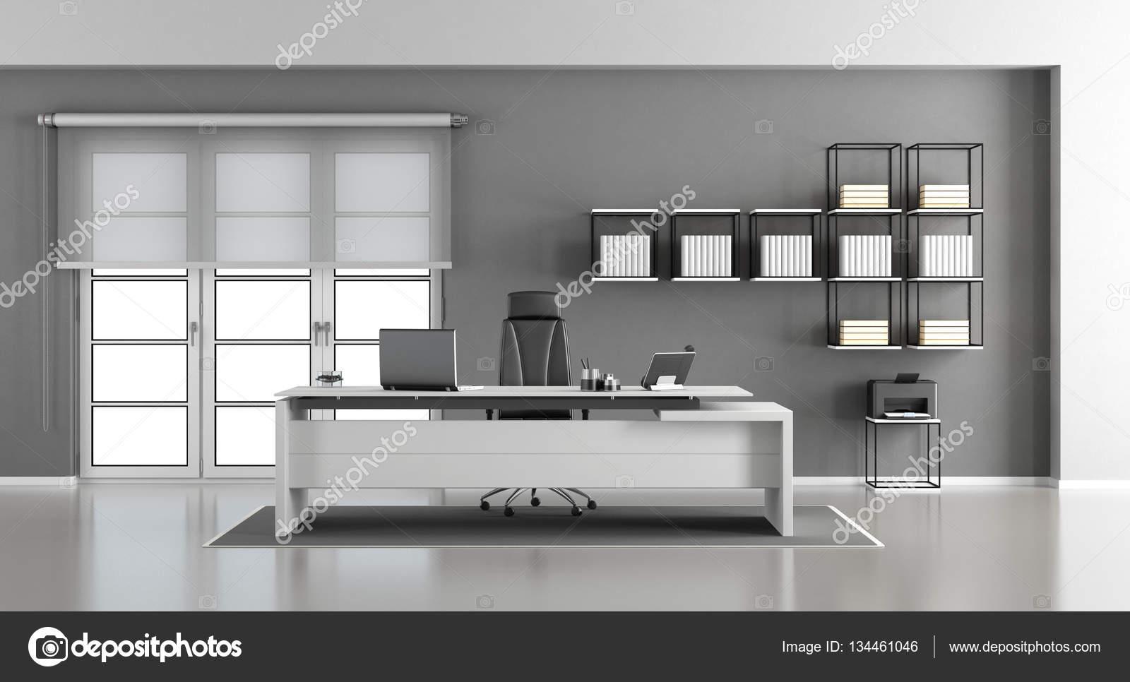 Bureau moderne blanc et gris u photographie archideaphoto