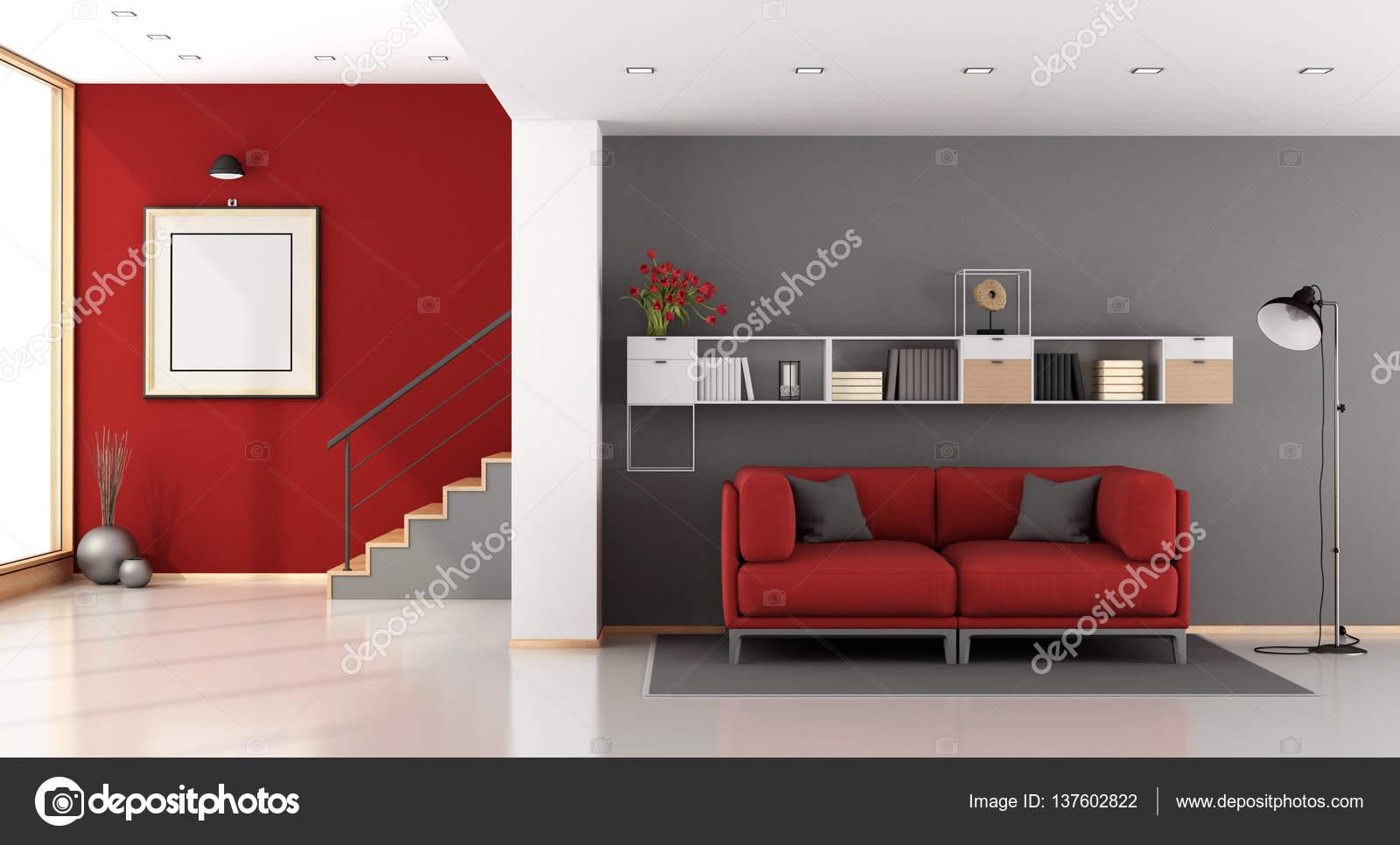 Divano Rosso E Grigio : Salone moderno rosso e grigio u foto stock archideaphoto