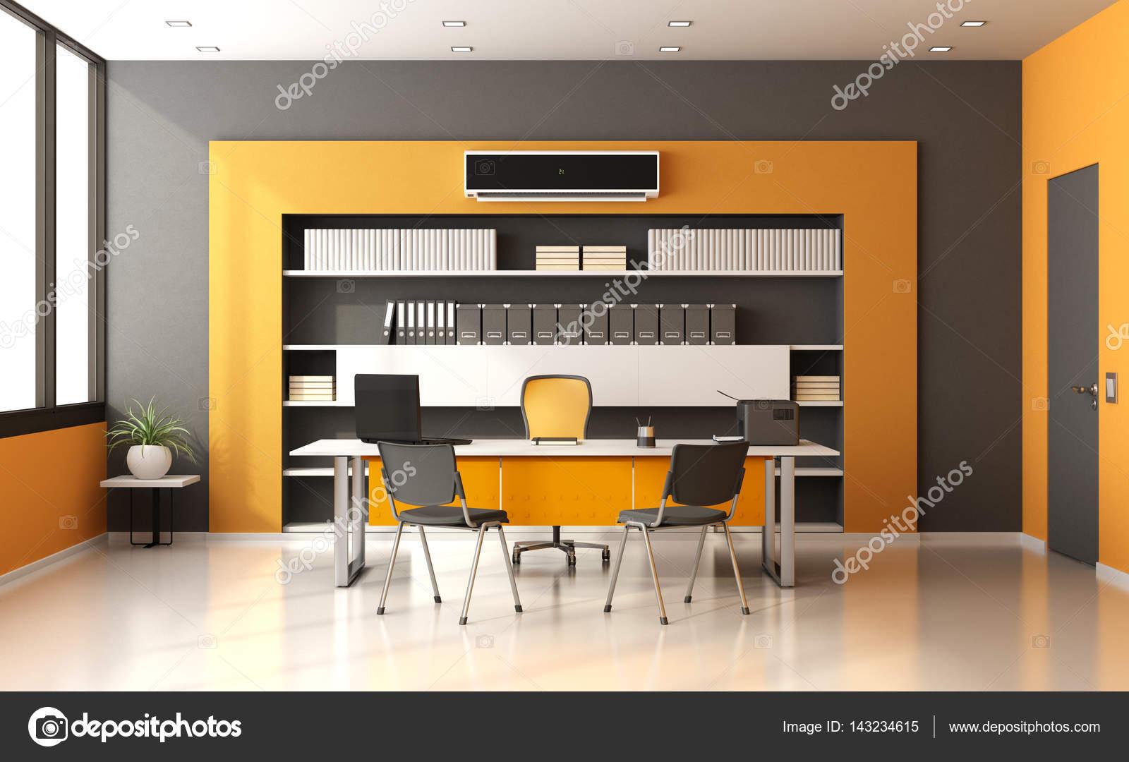 Bureau moderne orange et gris u2014 photographie archideaphoto © #143234615