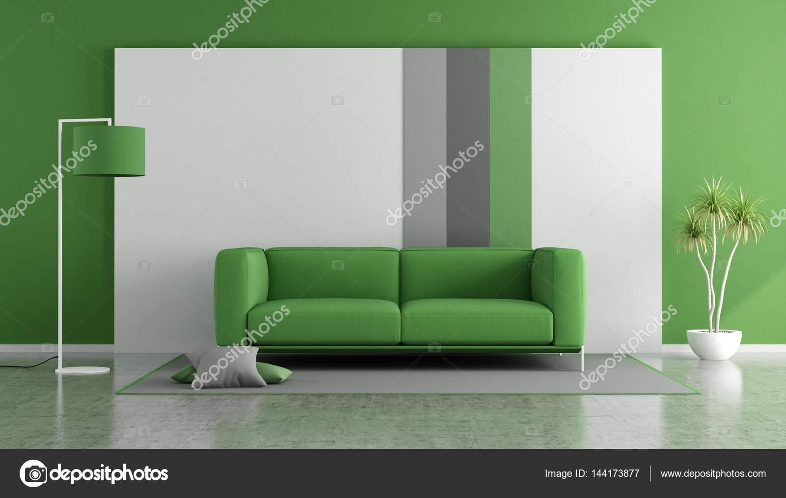 Salotto Moderno Verde : Divano verde in un salotto moderno u foto stock archideaphoto