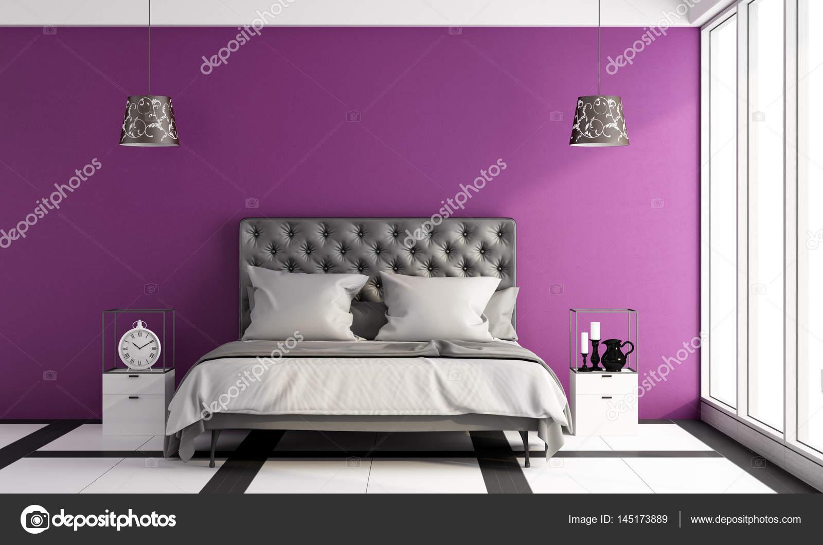Slaapkamer Paars Zwart : Moderne slaapkamer u stockfoto archideaphoto