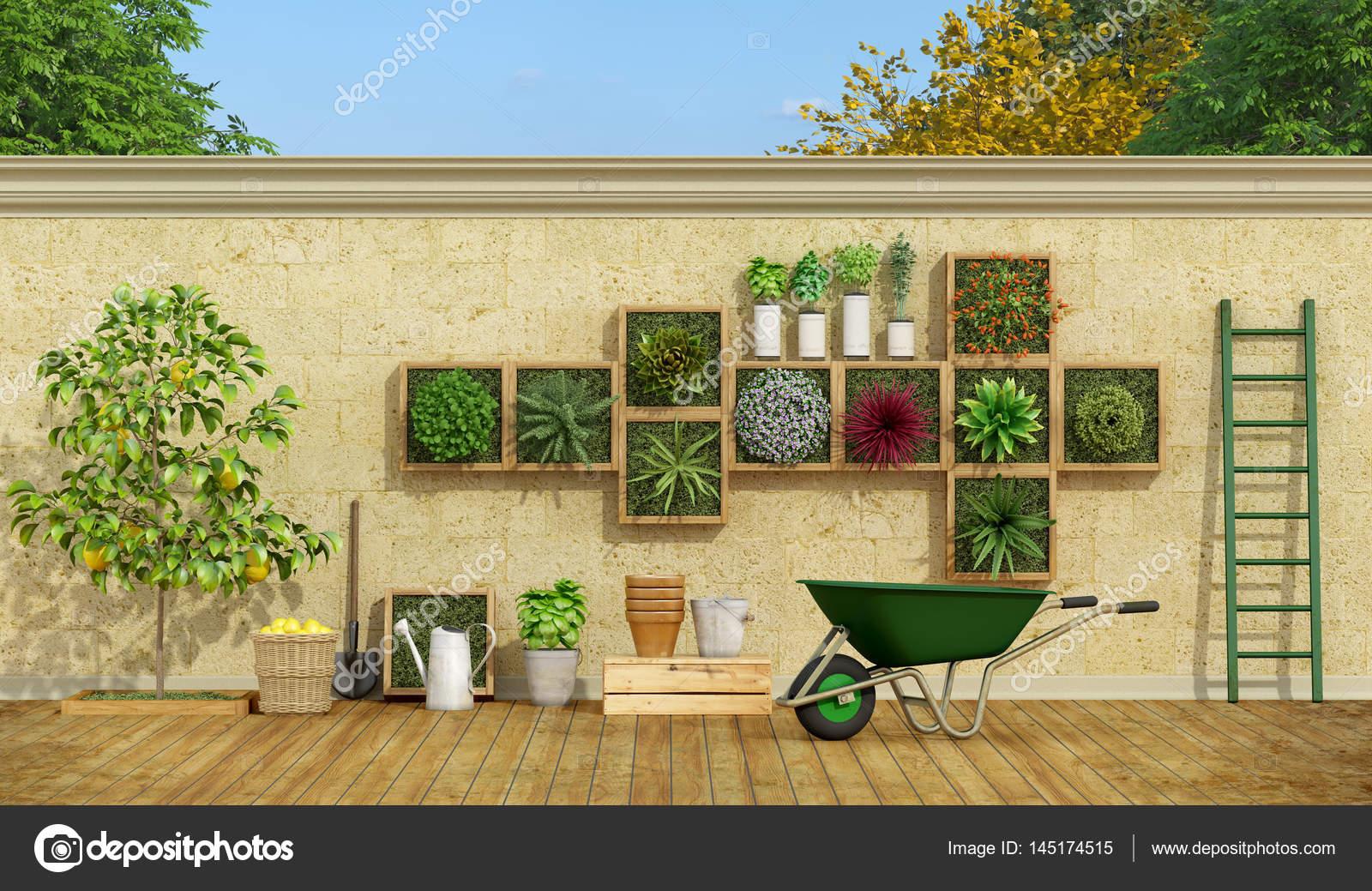 Verticale tuin op stenen muur u stockfoto archideaphoto
