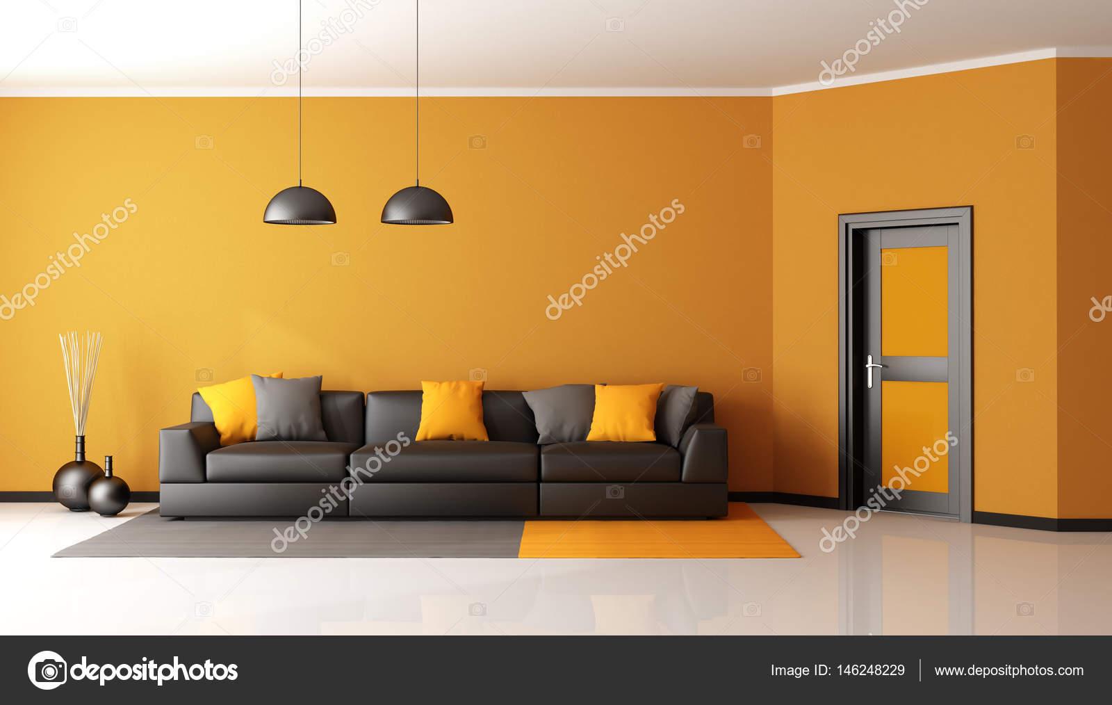 schwarz und orange Wohnzimmer — Stockfoto © archideaphoto #146248229