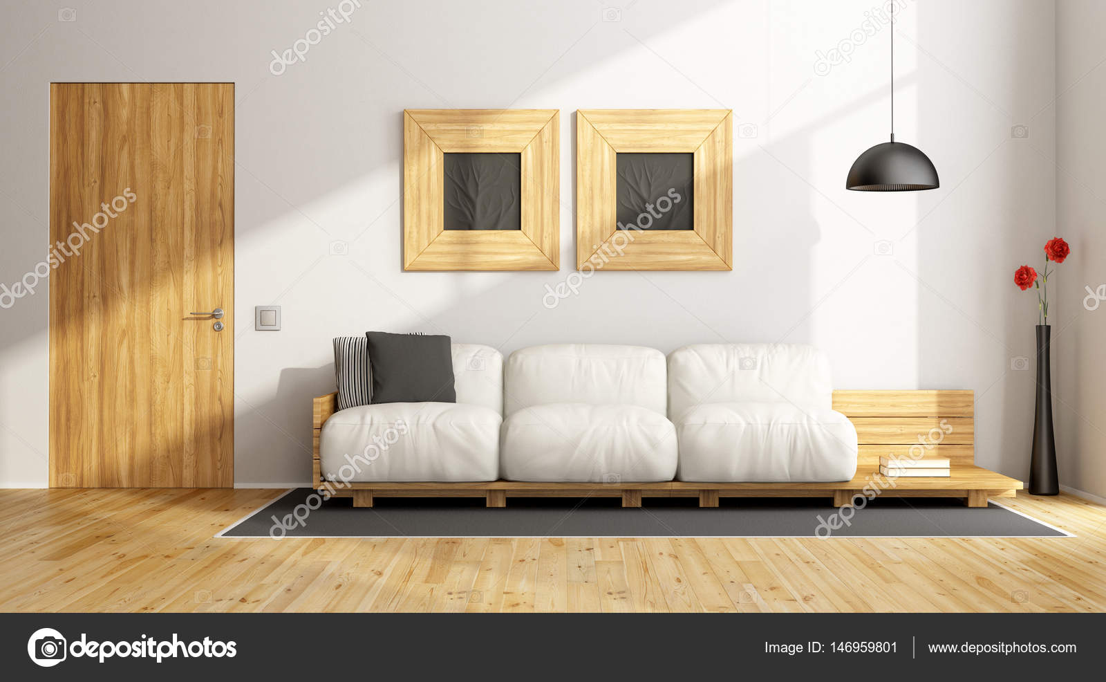 Minimalistischen Wohnzimmer Mit Weißen Wand Und Möbel Aus Holz   3d  Rendering U2014 Foto Von Archideaphoto