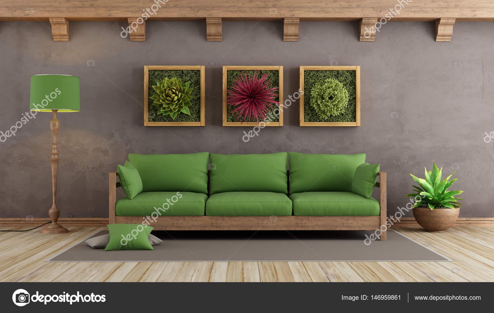 Retro salon avec canapé vert — Photographie archideaphoto © #146959861