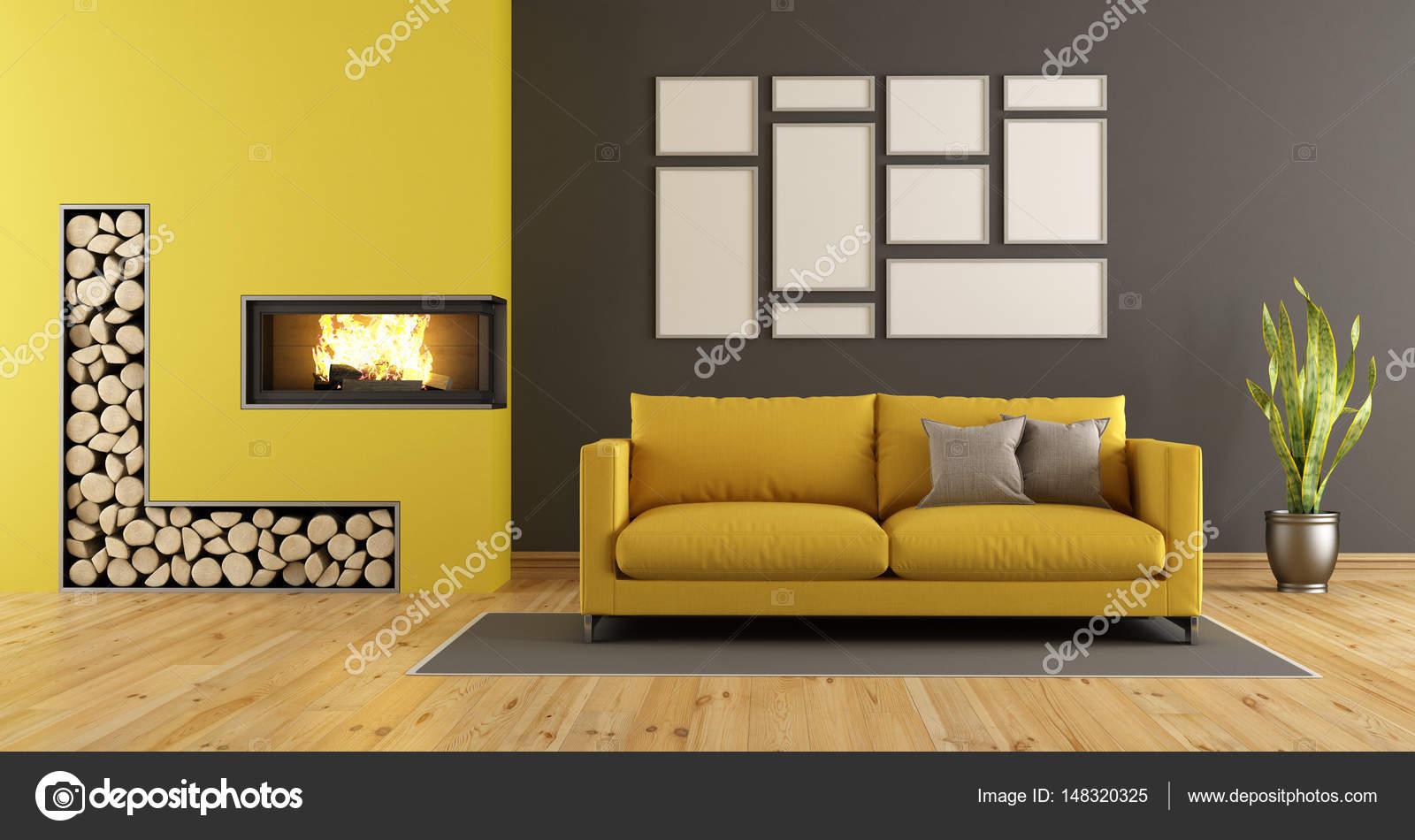 Zwarte en gele woonkamer met open haard — Stockfoto © archideaphoto ...