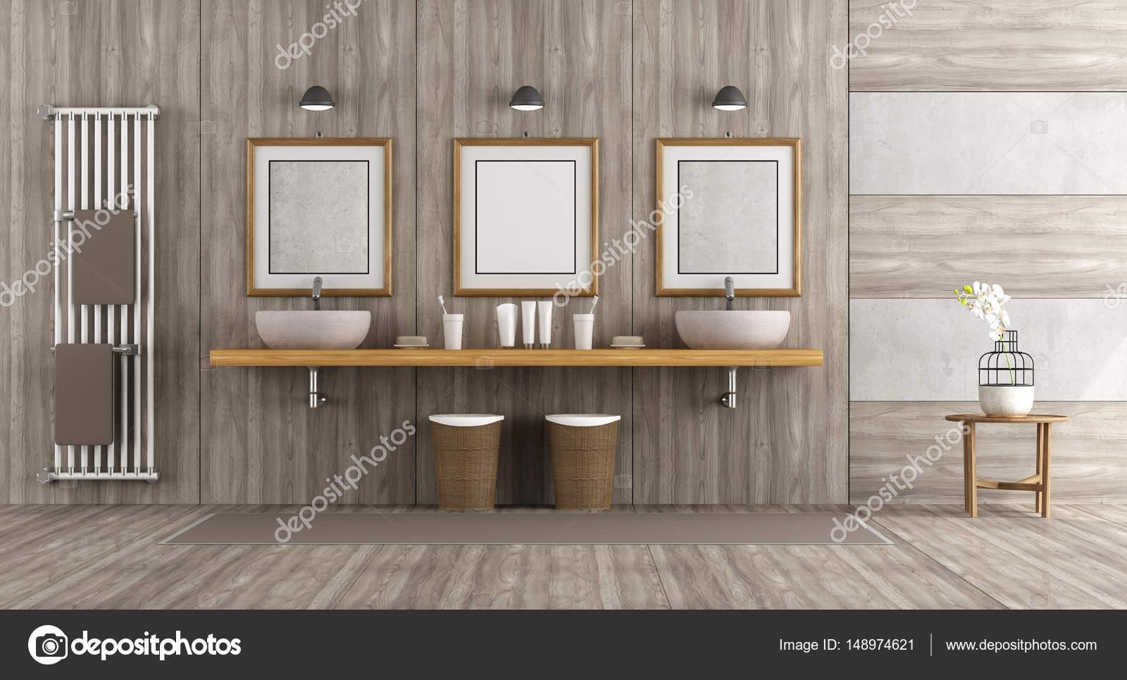 Aus Holz Und Beton Badezimmer Mit Doppelten Waschbecken Auf Das Regal   3d  Rendering U2014 Foto Von Archideaphoto