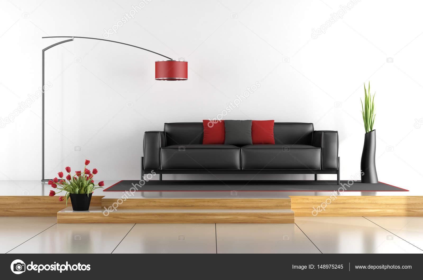Moderne Lounge mit schwarzen Sofa - 3d rendering — Stockfoto ...