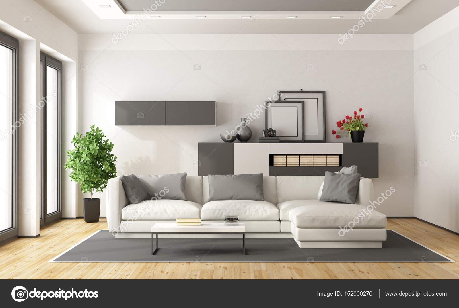Salotto Moderno Bianco E Grigio : Salotto moderno bianco e grigio u2014 foto stock © archideaphoto #152000270