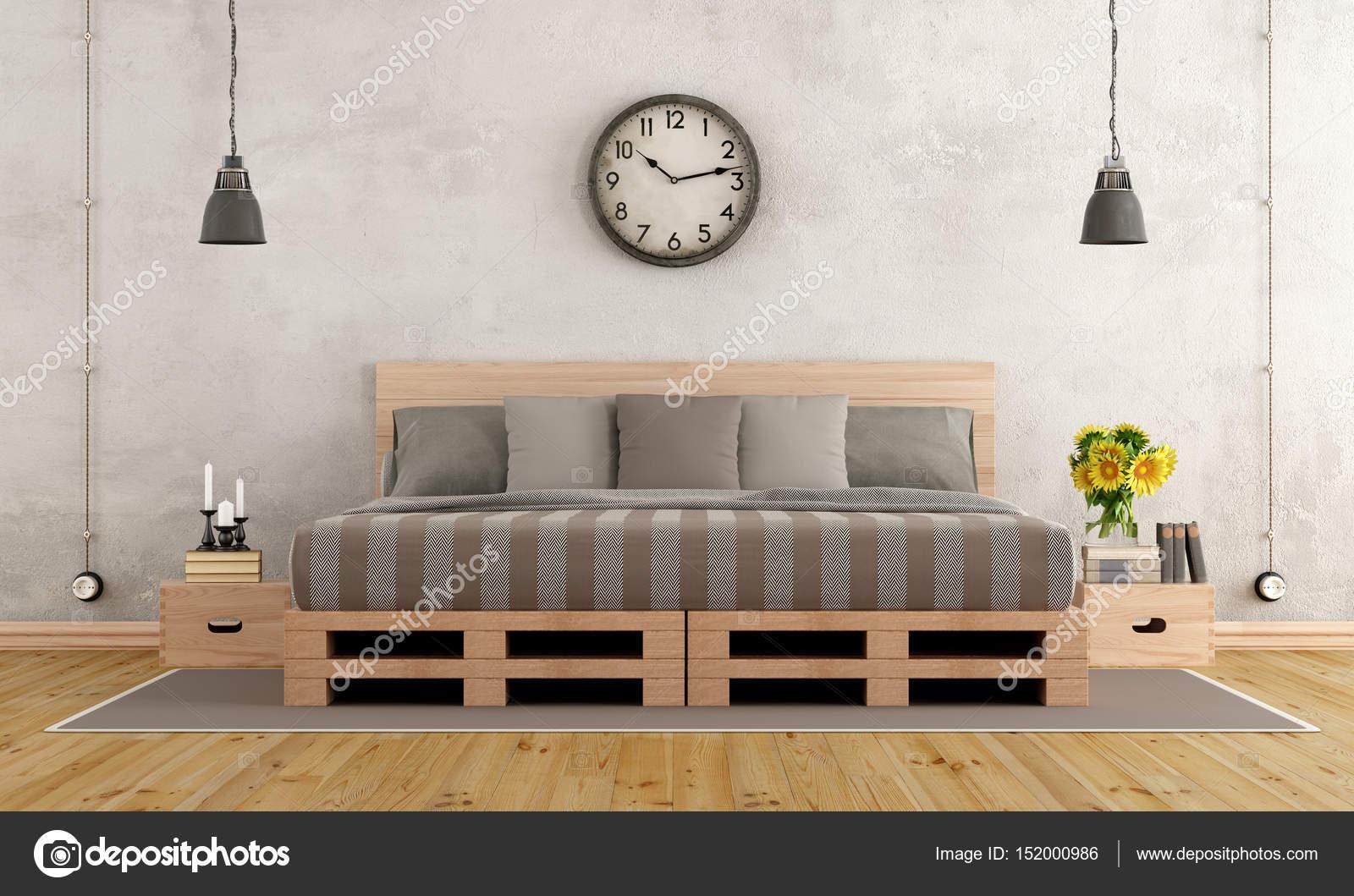 Sypialnia W Stylu Rustykalnym Zdjęcie Stockowe