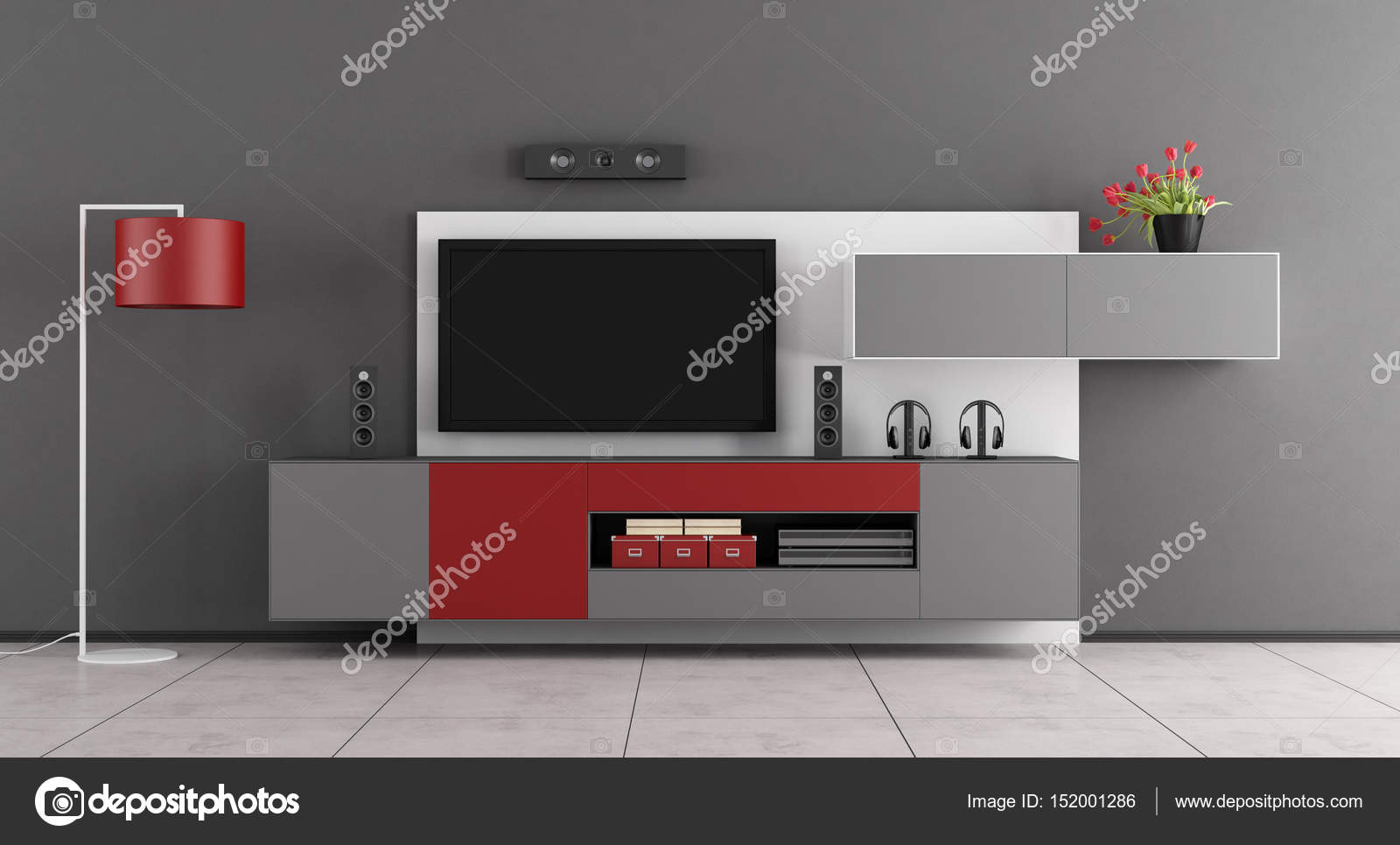 gray and red living room with tv 3d rendering stock photo rh depositphotos com grey and red living room curtains gray and red living room curtains