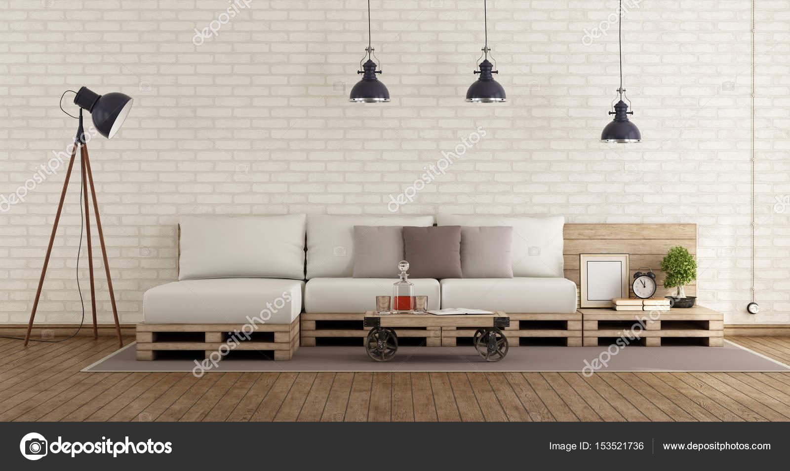 Retro woonkamer met sofa van de pallet — Stockfoto © archideaphoto ...