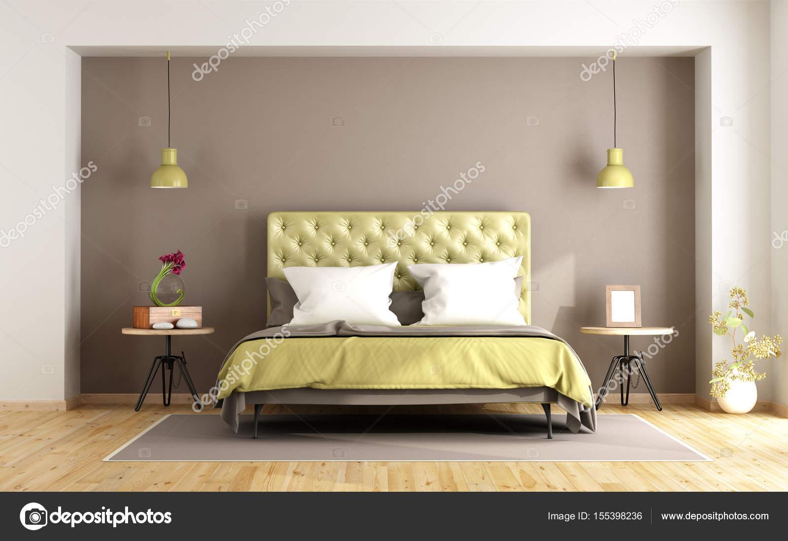 Braun und grün Schlafzimmer — Stockfoto © archideaphoto #155398236