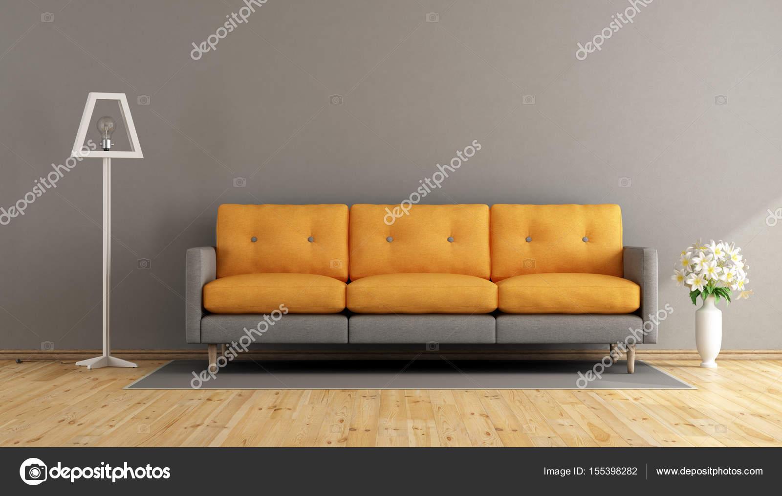 Grau und orange Wohnzimmer — Stockfoto © archideaphoto #155398282