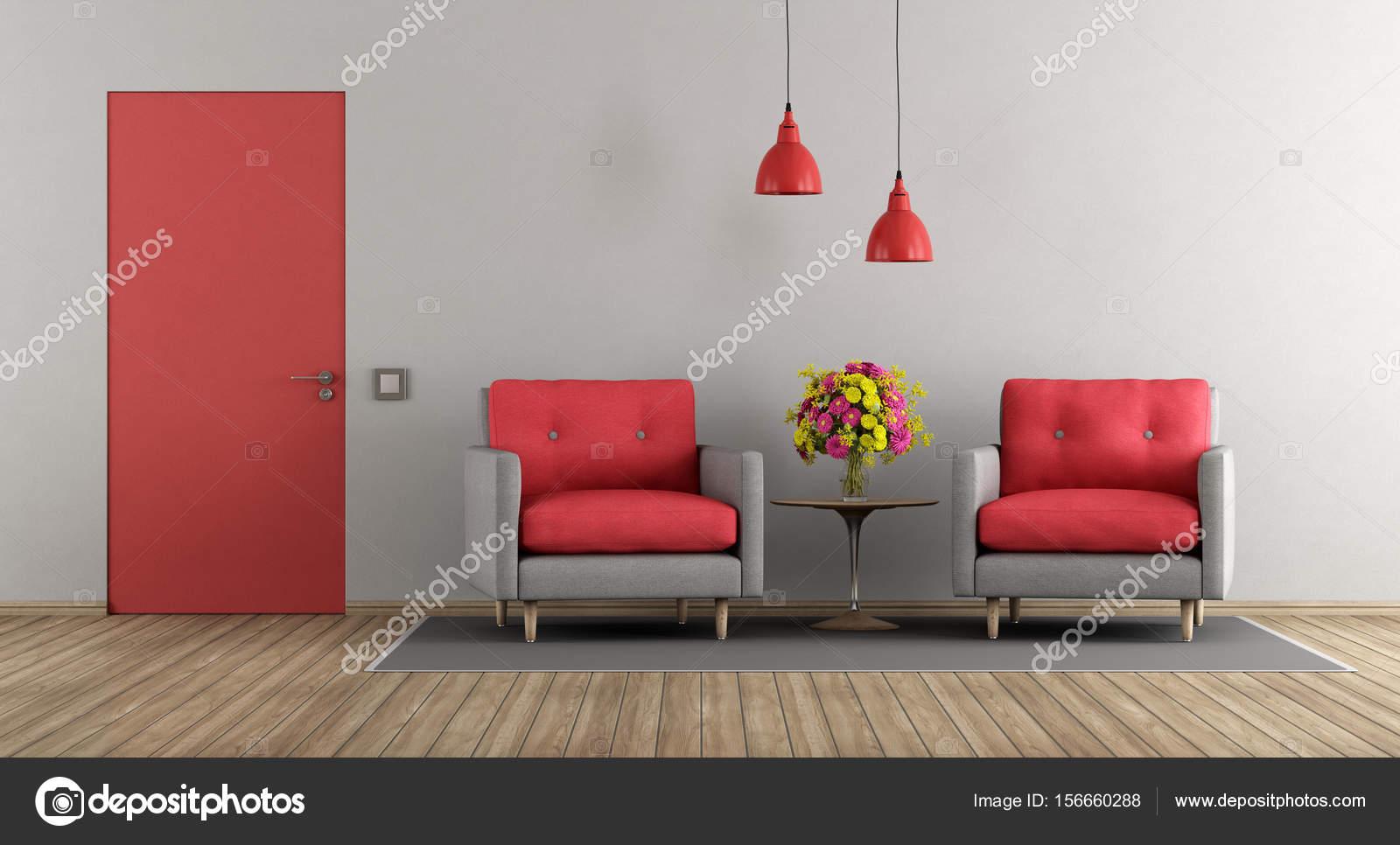 Salon moderne gris et rouge — Photographie archideaphoto ...