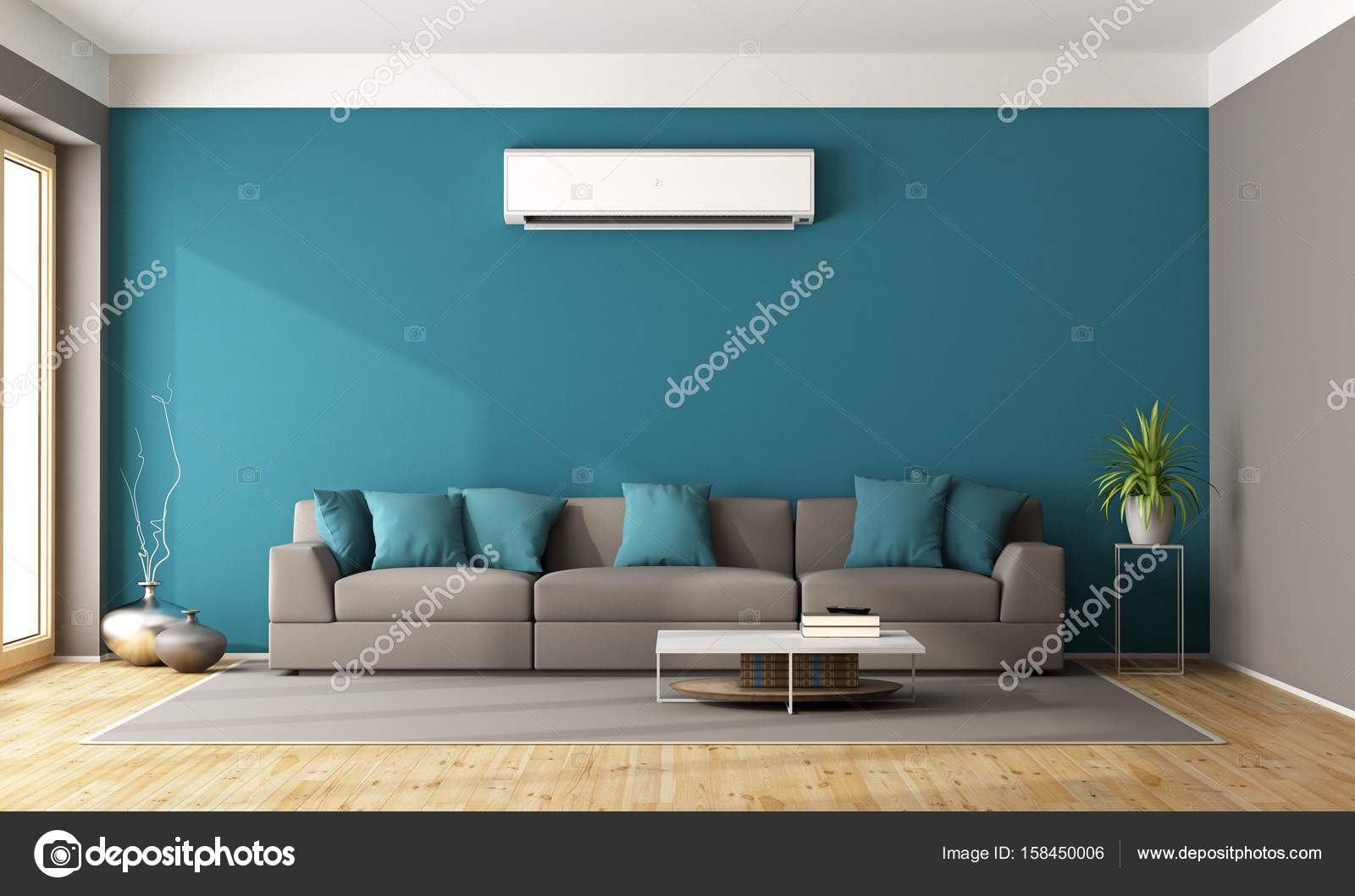 conditioner living with contemporary stock for room rendering free brown image royalty air illustration