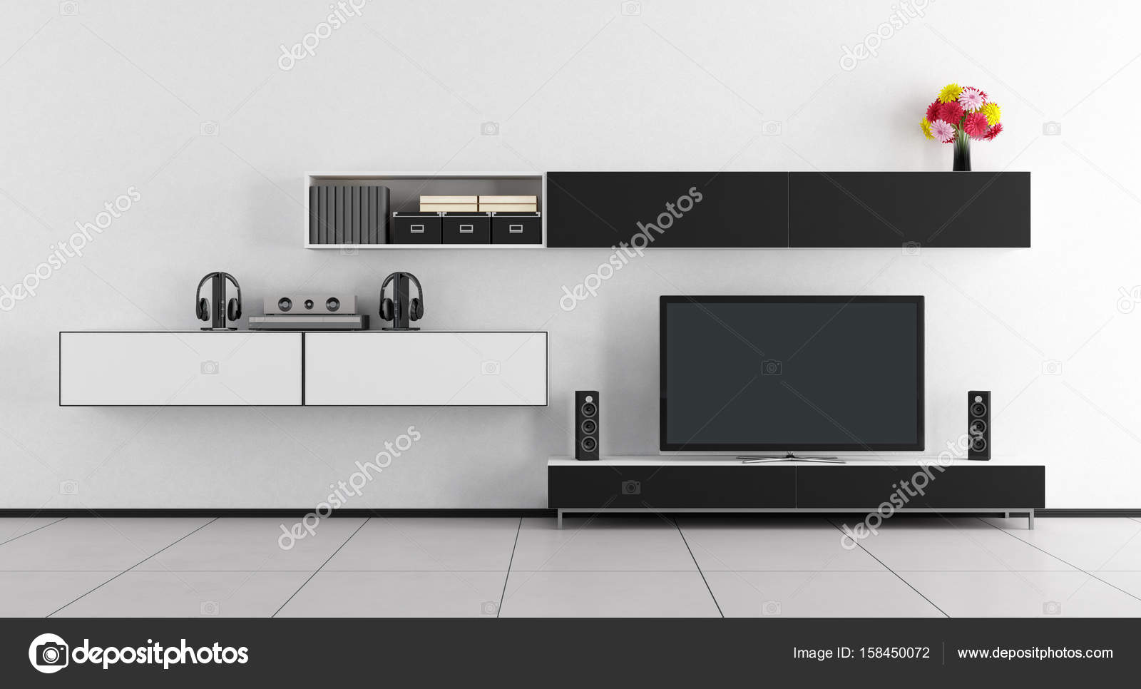 Black and white room with tv unit — Stock Photo © archideaphoto ...