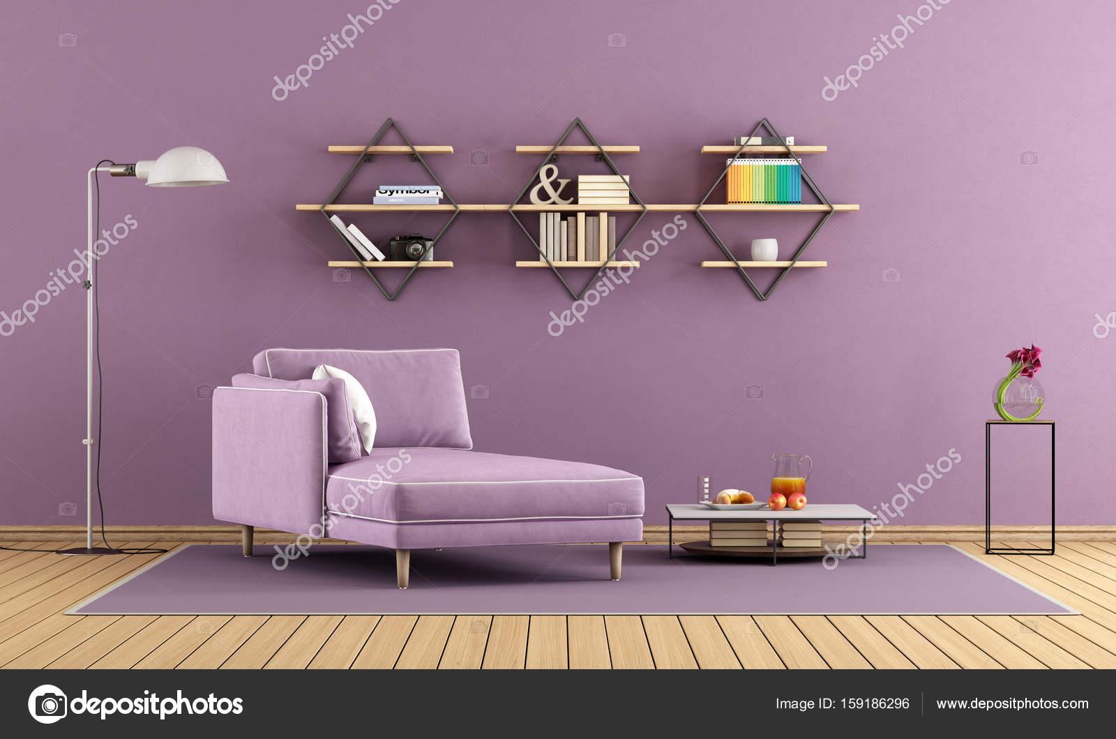 Lila Wohnzimmer, lila wohnzimmer mit chaiselongue und regale — stockfoto, Design ideen