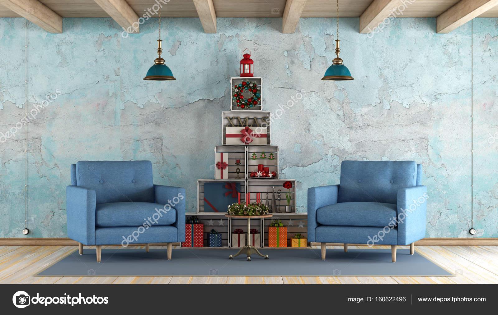 Retro woonkamer met kerstversiering — Stockfoto © archideaphoto ...