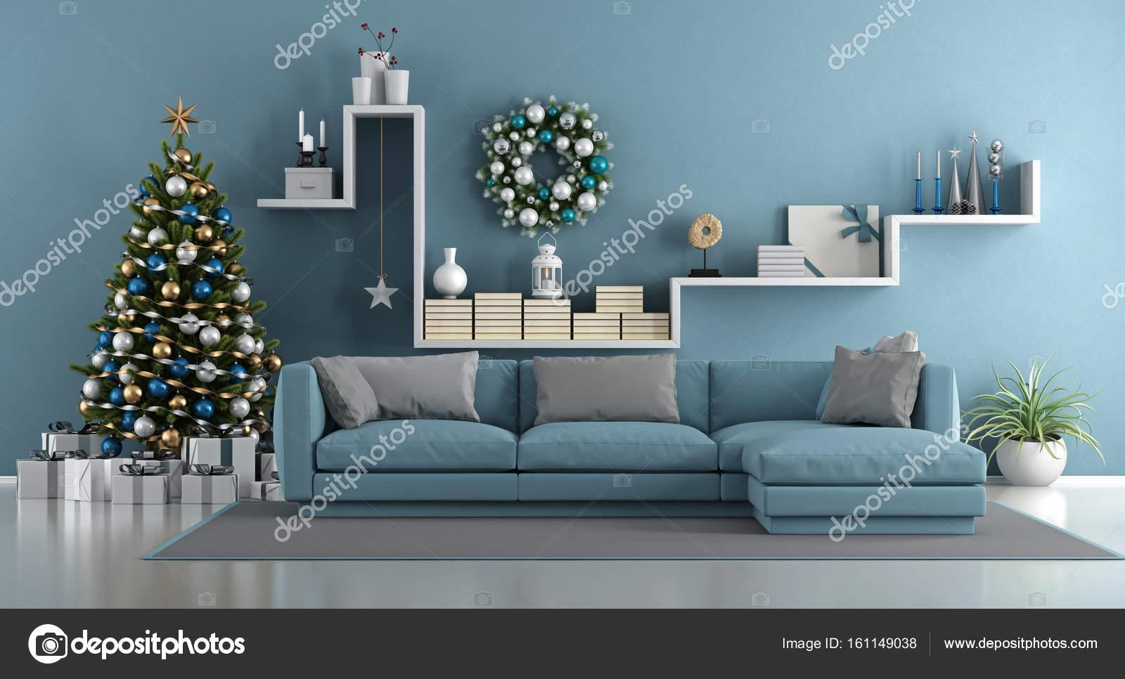 Blaue modernes Wohnzimmer mit Weihnachtsbaum — Stockfoto ...