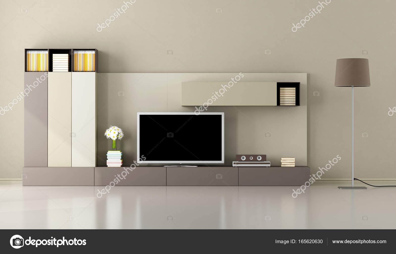 Modern Living Room With Tv Unit Stock Photo Archideaphoto 165620630