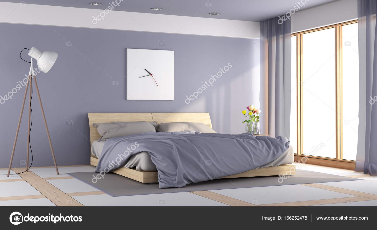Paarse Accessoires Slaapkamer : Moderne paarse slaapkamer u stockfoto archideaphoto