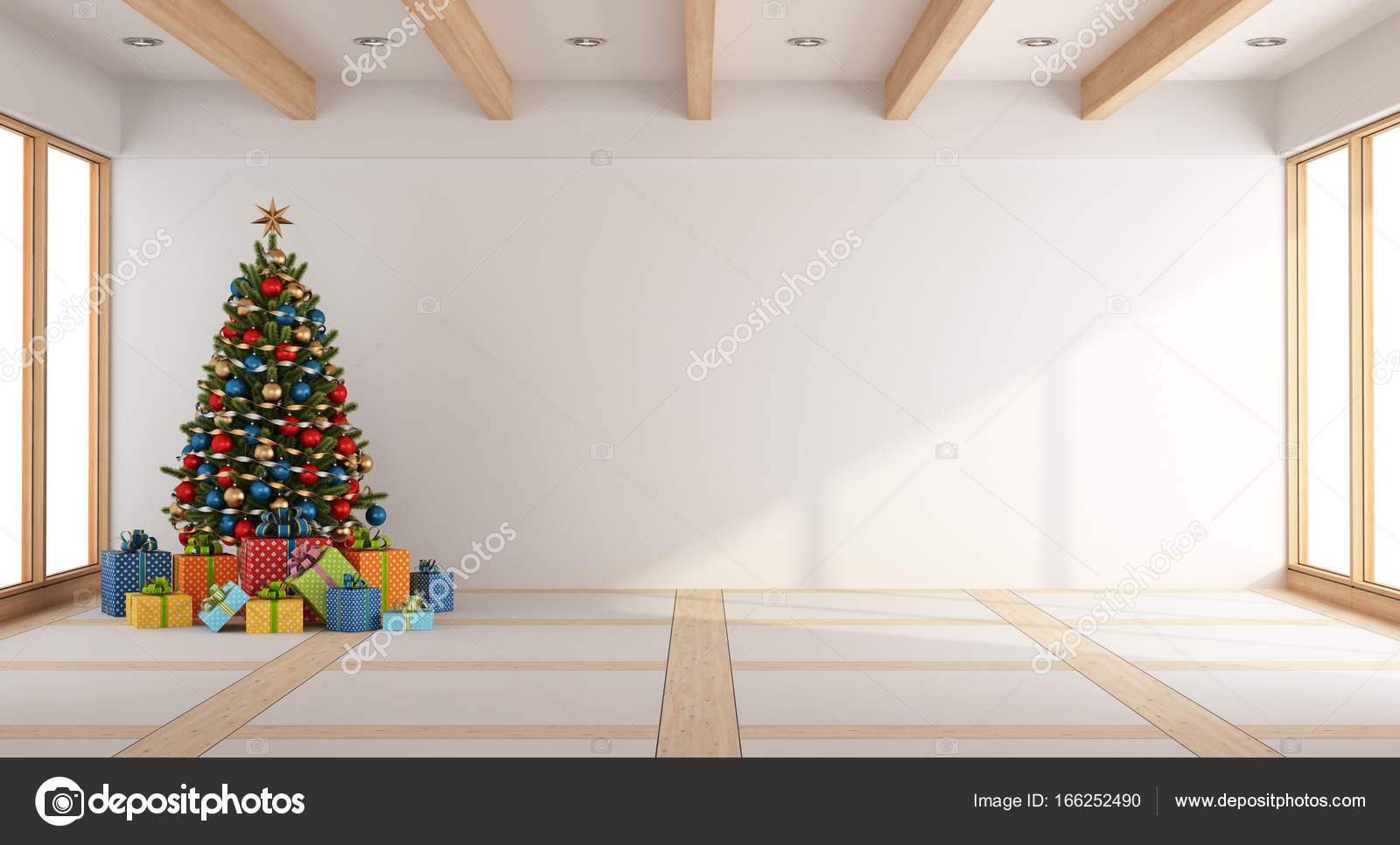 Empty living room with christmas tree — Stock Photo © archideaphoto ...