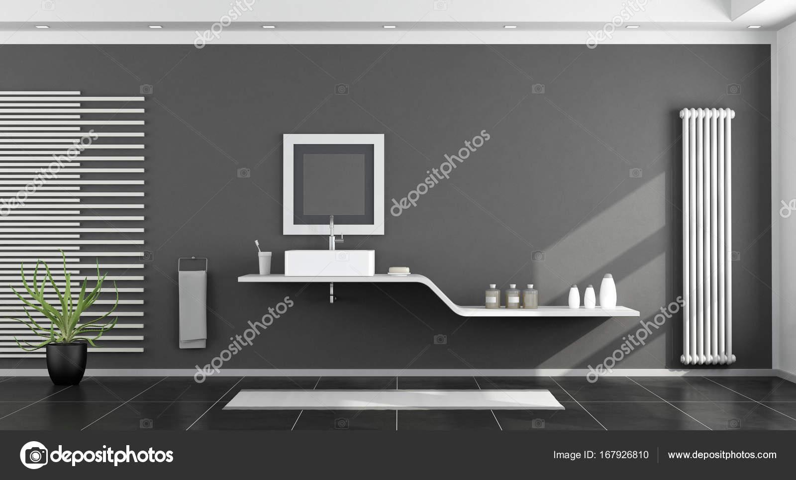 Moderno cuarto de baño blanco y negro — Foto de stock ...