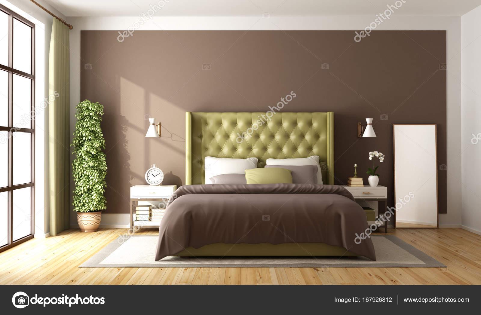 Hochwertig Braun Und Grün Schlafzimmer Mit Eleganten Doppelbett   3d Rendering U2014 Foto  Von Archideaphoto