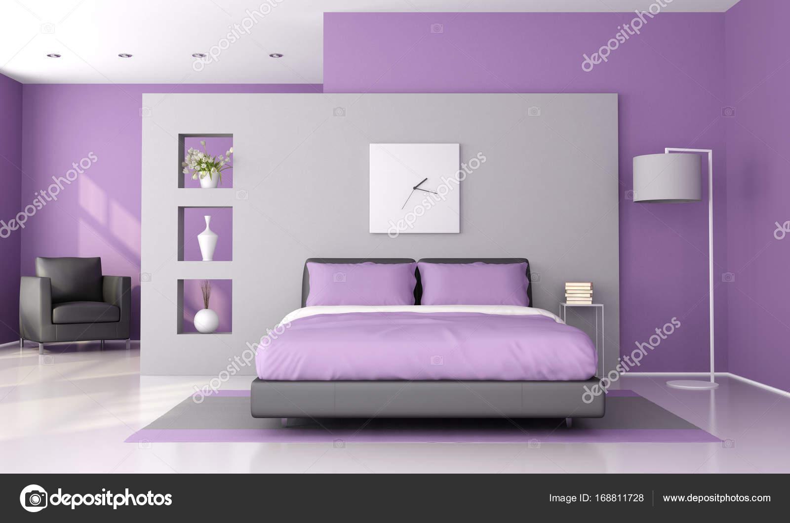paars en grijs moderne slaapkamer 3d rendering foto van archideaphoto