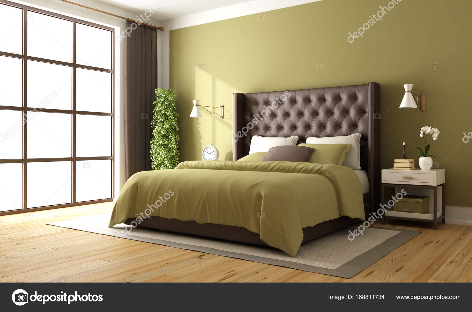 Slaapkamer Groen Bruin : Klassieke slaapkamer van bruin en groen u stockfoto