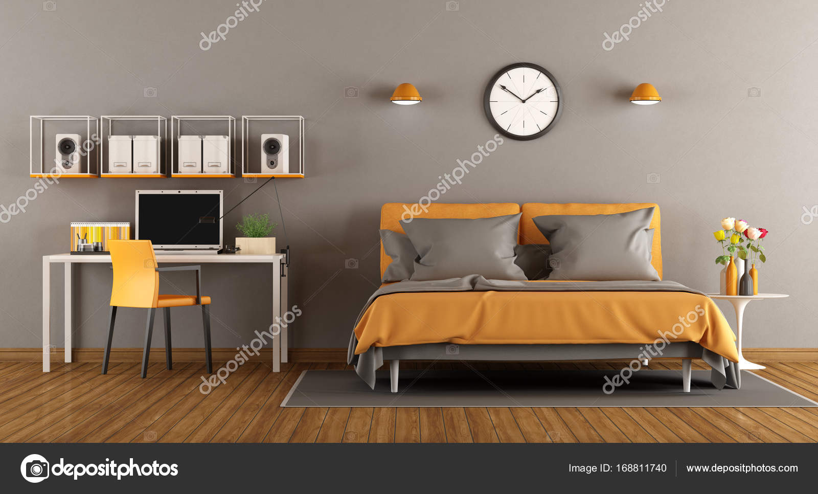 Camera da letto moderna con letto e scrivania - 3d rendering — Foto ...