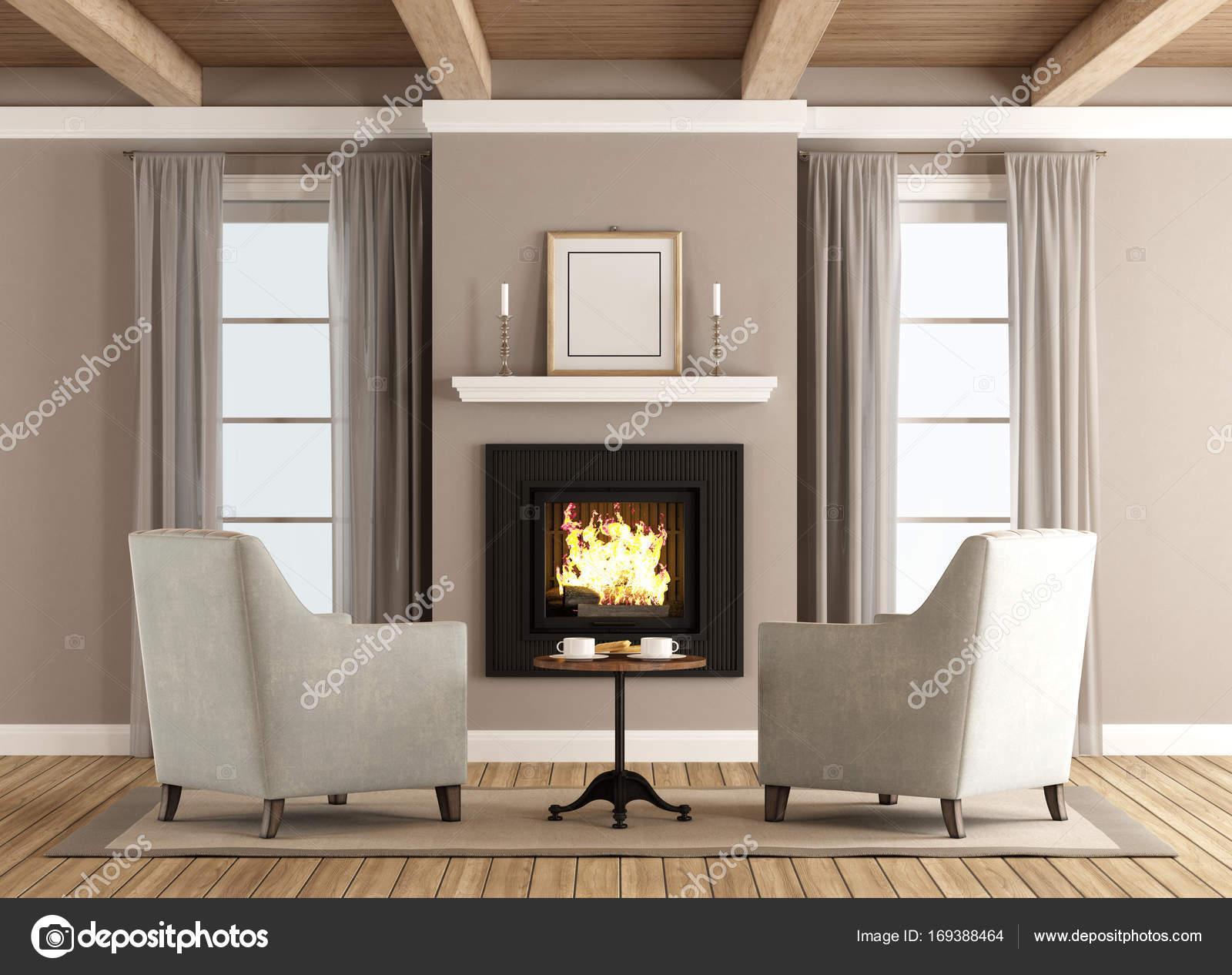 Klassieke woonkamer met open haard — Stockfoto © archideaphoto ...