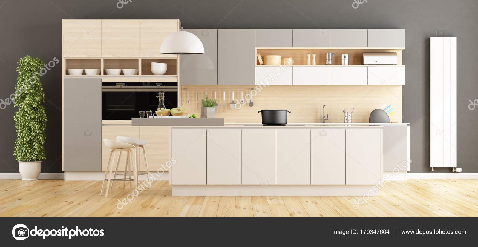 Cozinha Moderna Com Ilha Stock Photo Archideaphoto 170347604